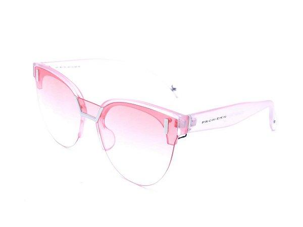 Óculos solar Prorider rosa translúcido fosco com detalhes em prata