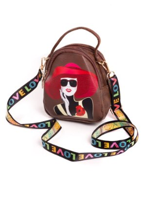 Shouder Bag Bad Rose - Bolsa Teen Marrom com Estampado Colorido