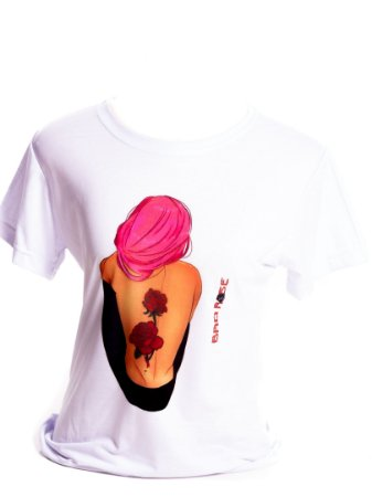 Camiseta branca Bad Rose Personagem Autoral Nanami Nem - FELL