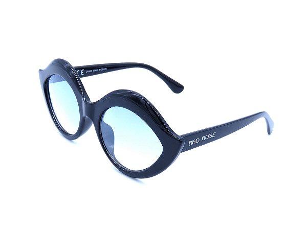 Óculos solar Bad Rose preto com lente degrade azul