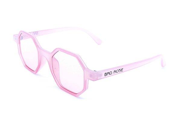 Óculos Solar Bad Rose rosa translúcido octogonal - YD1848C4