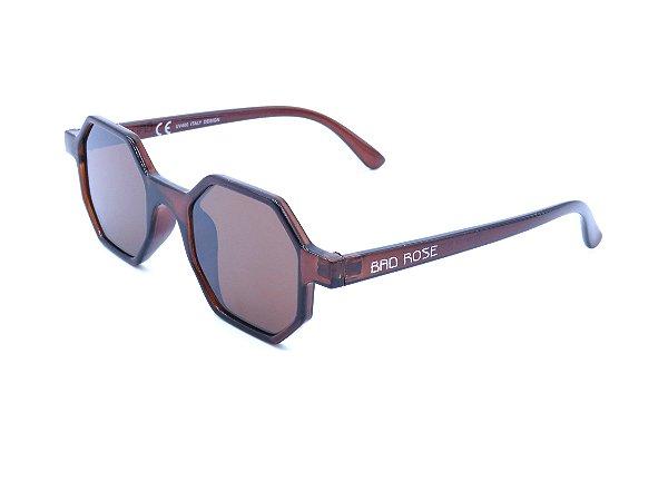 Óculos Solar Bad Rose marrom octogonal - YD1848C6