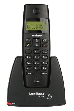TELEFONES SEM FIO INTELBRAS TS40 ID PRETO DECT 6.0 BIVOLT C/ IDENTIF. DE CHAMADAS