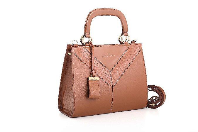Bolsa em couro tamanho médio com 2 alças