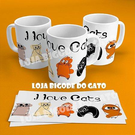 Caneca I love cats - coloridos