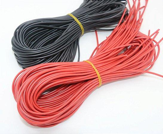 Fio em silicone AVG 18 - metro na cor preta ou vermelha.