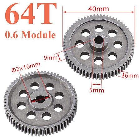 Engranagem em metal 11184 diferencial de motor 5MM 64T para HSP RC auto 1/10