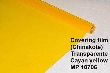 Chinakote amarelo transparente, entelagem de aeros, para entelagem de aeromodelos, overkote, monokote,