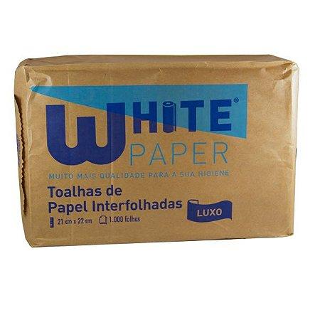 Toalha Interfolha Luxo White Paper com1000 fls Descártavel 21cmx23cm