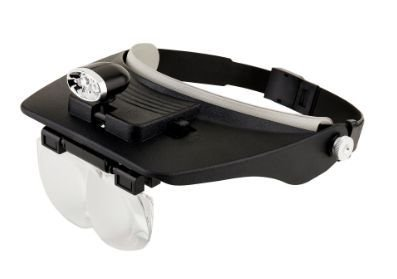 Lupa de cabeça Solver 4 lentes de aumento com iluminação led