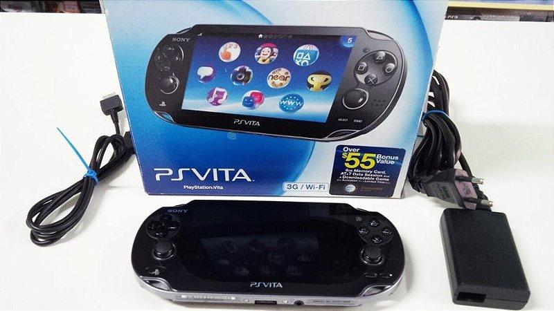 PS Vita Crystal Black PCH-1101 c/ Cartão 8GB (usado)
