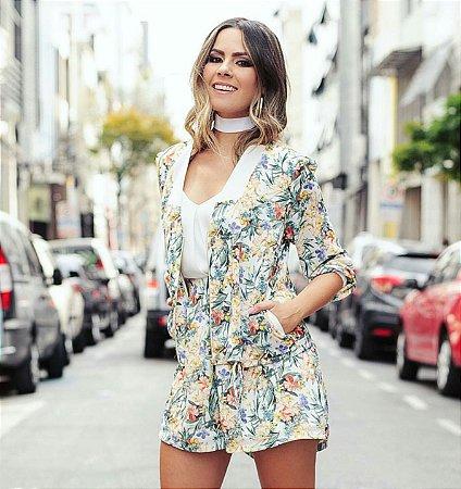 Conjunto Flower ( jaqueta + shorts)