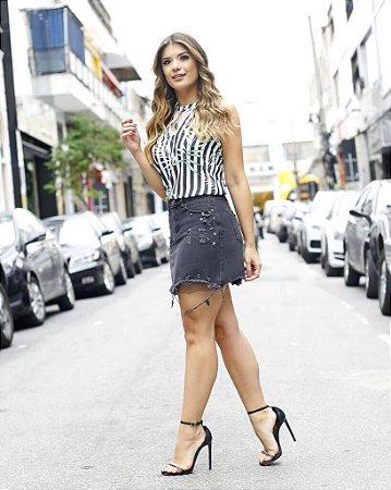 Saia Jeans Glam ( Black e Off)