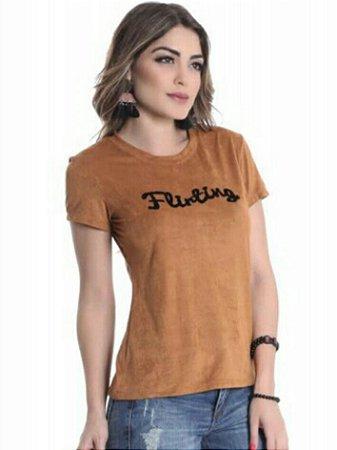 T-Shirt Suede Caramelo