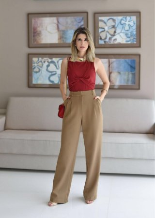 Calça Pantalona Sarja (Cáqui)