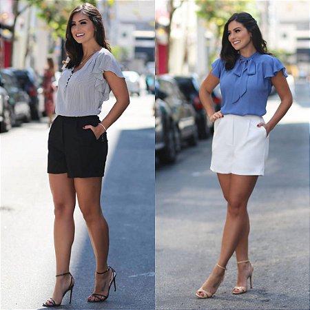 Shorts Bolso Pregas