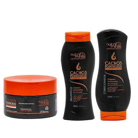 Máscara, Shampoo e Condicionador Cachos Poderosos Nutriminas Reconstrução Intensiva - 3 Unidades