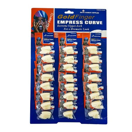 Cartela Unhas Postiças Gold Finger 24 Pacotes Empress Curve - 3 Unidades