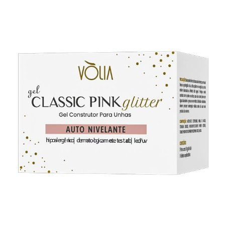 Gel Glitter Pink Vòlia Gel Construtor para Unhas 24g - 3 Unidades