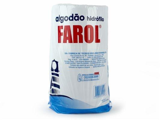 Algodão Hidrófilo 500g, Macio e com Alto Poder de Absorção - Farol (Caixa com 3 DE 500 kg)