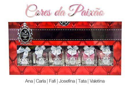 Coleção Esmaltes Diva Cores Da Paixão  Kit com 6 Lindo Estojo.