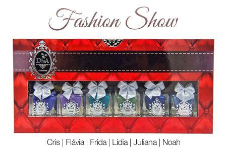 Coleção Esmaltes Diva Fashion Show  Kit com 6 Lindo Estojo.