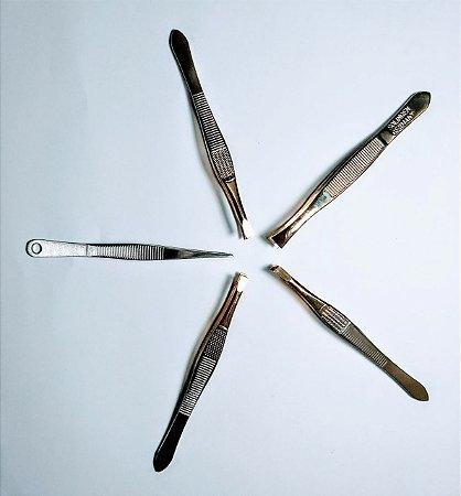 kit com 5 pinças diferentes para sobrancelhas