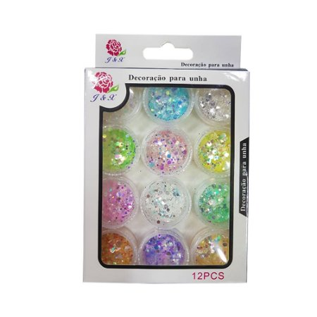 Glitter com 12 Potinhos para Alongamento de Unhas Coloridos J&X - 3 Unidades