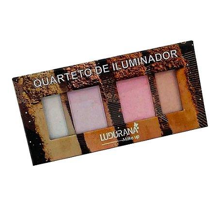 Paleta Quarteto De Iluminador  Ludurana Make Up 4 Cores 12g - 3 Unidades