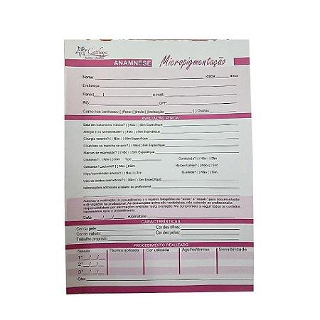Bloco Ficha de Anamnese para Micropigmentação 50 Folhas Offset 90 - 3 Unidades