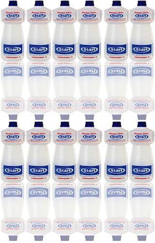 Alcool 70% Start quimica 1 Litro - 12 unidades