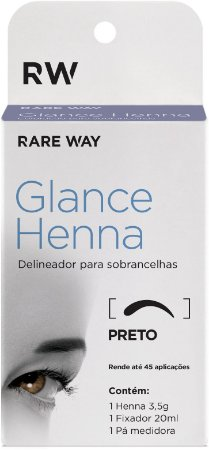 Henna Para Sobrancelhas Glance (Preto) - Rare Way - 3 Unidades