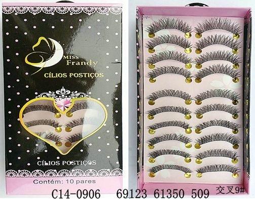 Cílios Postiços 10 pares Mis Frandy C14-0906 - Caixa com 3 unidades
