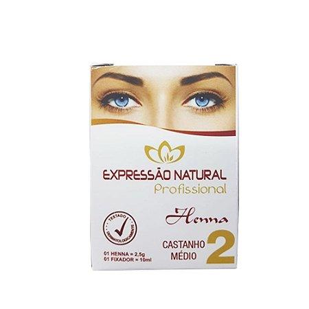 Henna Expressão Natural Castanho Médio Profissional + Fixador 2,5g - 3 Unidades