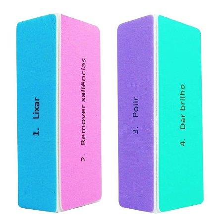 Lixa Bloco Polidora Colorida - Caixa com 3 unidades