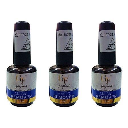 Removedor De Esmalte Em Gel  Para Unhas Gf 15 ml Pro - 3 Unidades