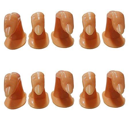Kit com 10 Dedo Postiço Curso Unha Treino Manicure Gel