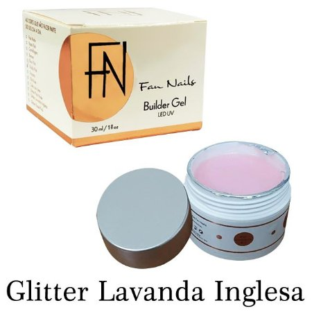 Builder Gel Fan Nails Auto Brilho Autonivelante Glitter Lavanda Inglesa 30g -  3 Unidades