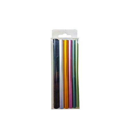 Kit Com 3 Conjuntos  Tubos Coloridos Para Curvatura C Em Unhas