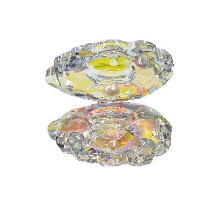 Concha Para Foto E Decoração Delicada Furta Cor com Cristal - 3 Unidades