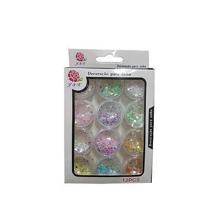 Glitter Flocado Claro Para Unhas Em Gel J&X - 3 Unidades