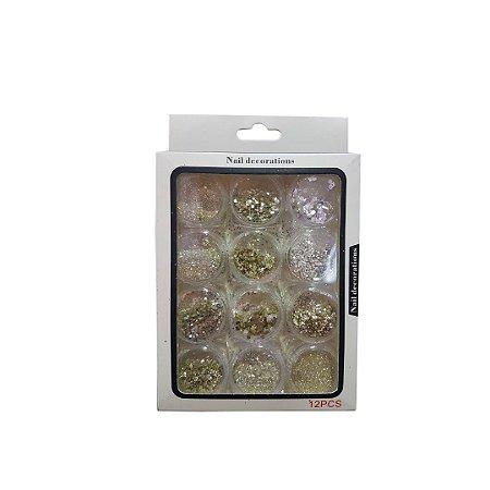 Glitter Flocado Prata Para Unhas Em Gel - 3 Unidades