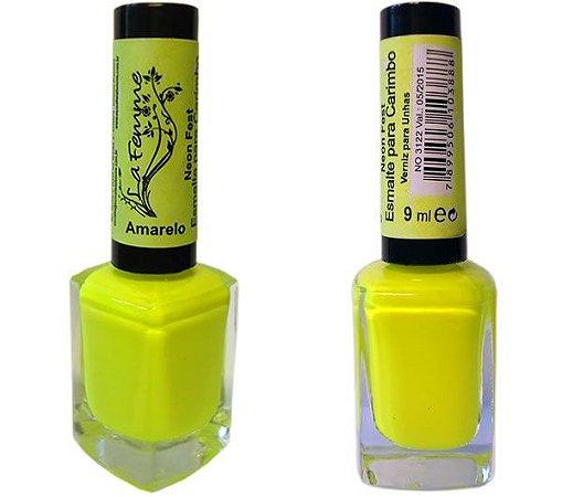 Esmalte LaFemme - Amarelo - 9ml - Neon Fest - Caixa com 6 unidades