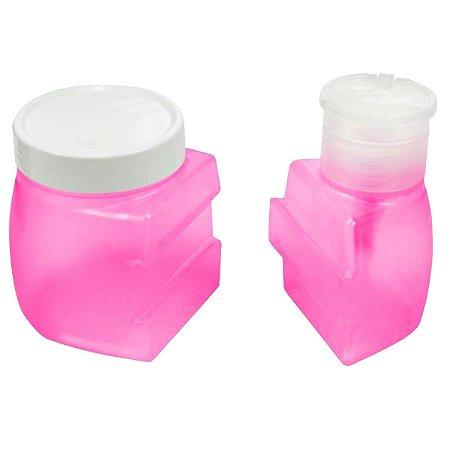 Dosador De Acetona Rosa com Porta Algodão Santa Clara - 3 Unidades