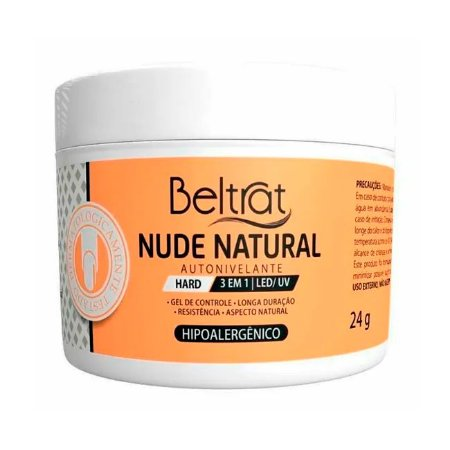 Gel Construtor Autonivelante Nude Natural HARD Beltrat 24g Manicure Alongamento Unhas - 3 Unidades