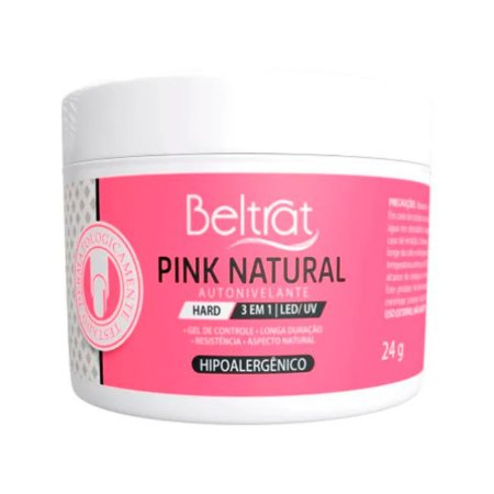 Gel Construtor Autonivelante Pink Natural HARD Beltrat 24g Manicure Alongamento Unhas - 3 Unidades
