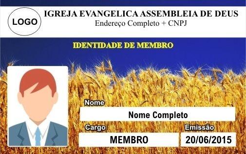 CARTÃO DE MEMBRO ASSEMBLEIA DE DEUS