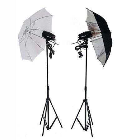 Kit de iluminação Flash Greika Argos com 2 tochas de 150w (110v) sombrinha difusora, rebatedora e 2 tripés
