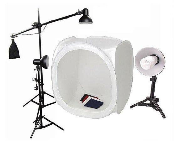 Kit ilumicação Mini Estudio Still PK-ST10 (110V) 135W com Tenda tamanho 80x80x80cm