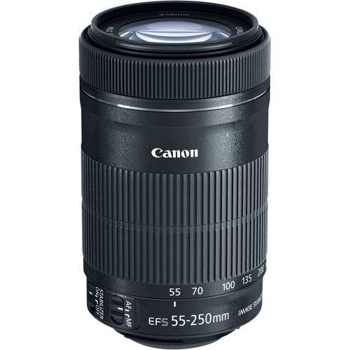Lente Canon EF-S 55-250mm f/4-5.6 IS STM com Parasol Canon ET-63